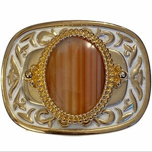 Gold and White belt buckle with earthtones